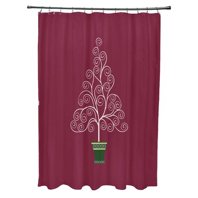 Filigree Tree Shower Curtain Color: Burgundy