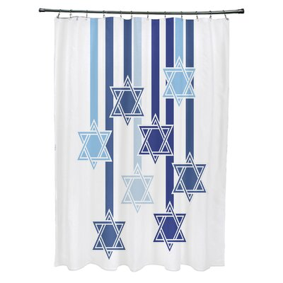 Shooting Stars Geometric Print Shower Curtain Color: White