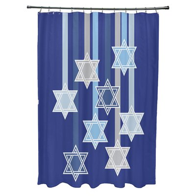 Shooting Stars Geometric Print Shower Curtain Color: Royal Blue