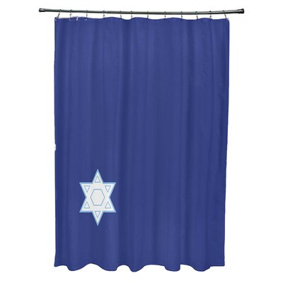 Stars Corner Geometric Print Shower Curtain Color: Blue