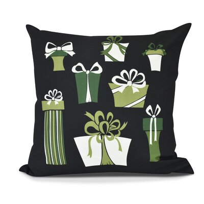 Present Time Throw Pillow Color: Black, Size: 18 H x 18 W
