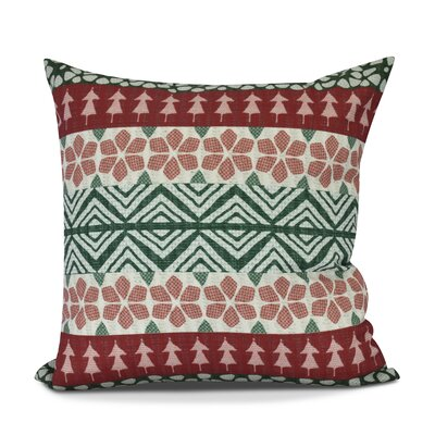 FairIsle Outdoor Throw Pillow Size: 18 H x 18 W, Color: Red