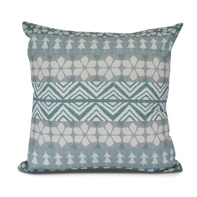 FairIsle Outdoor Throw Pillow Color: Teal, Size: 18 H x 18 W
