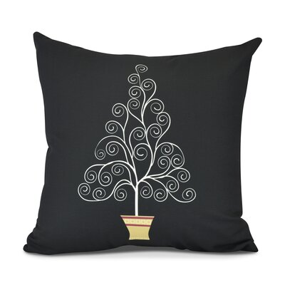 Filigree Tree Outdoor Throw Pillow Color: Black, Size: 20 H x 20 W