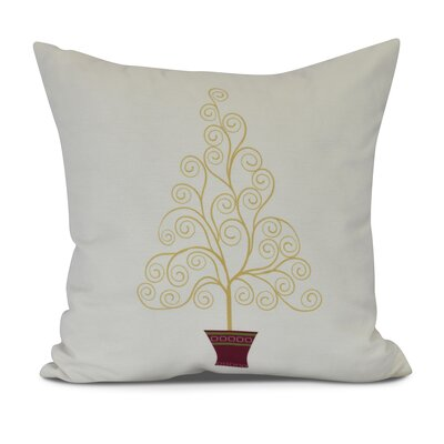 Filigree Tree Outdoor Throw Pillow Size: 16 H x 16 W, Color: Off White