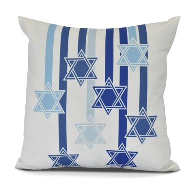 Shooting Stars Geometric Print Outdoor Throw Pillow Size: 16 H x 16 W, Color: White