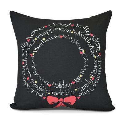 Wreath of Words Outdoor Throw Pillow Size: 18 H x 18 W