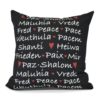 Words of Peace Outdoor Throw Pillow Color: Black, Size: 18 H x 18 W
