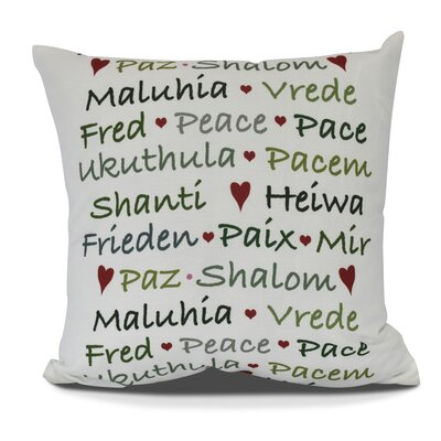 Words of Peace Throw Pillow Size: 20 H x 20 W, Color: Green