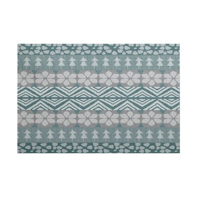 Fair Isle Teal/Gray Indoor/Outdoor Area Rug Rug Size: 4 x 6