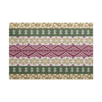 Fair Isle Green/Beige Indoor/Outdoor Area Rug Rug Size: 2 x 3