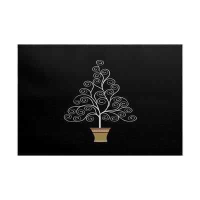 Filigree Tree Black Indoor/Outdoor Area Rug Rug Size: 5 x 7