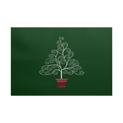 Filigree Tree Green Indoor/Outdoor Area Rug Rug Size: 4 x 6