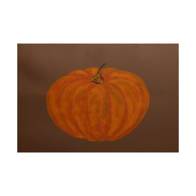 Lil Pumpkin Holiday Print Orange Indoor/Outdoor Area Rug Rug Size: 2 x 3
