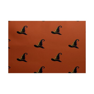 Witches Brew Holiday Print Orange Indoor/Outdoor Area Rug Rug Size: Rectangle 3 x 5