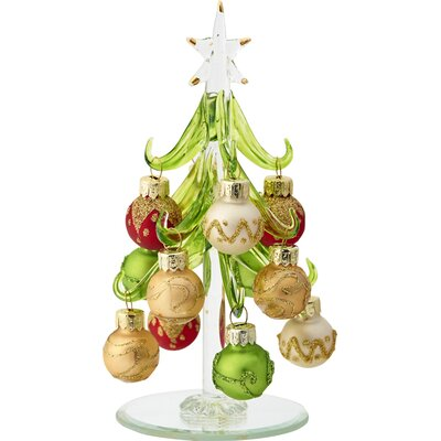 Glass Christmas Tree with Ornaments HLDY7684 37987296