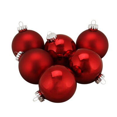 Traditional Glass Ball Christmas Ornament Color: Red