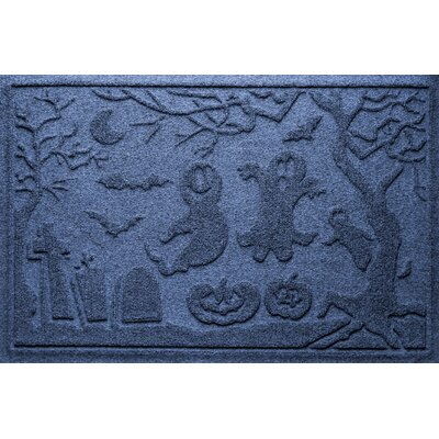 Aqua Shield Ghost Train Doormat Color: Navy
