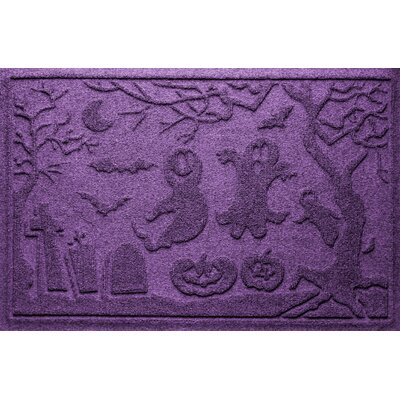 Aqua Shield Ghost Train Doormat Color: Purple