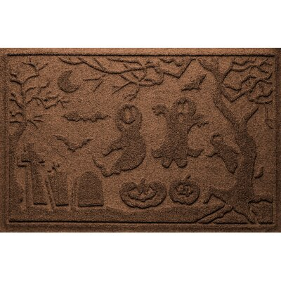Aqua Shield Ghost Train Doormat Color: Dark Brown