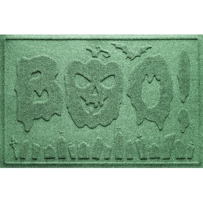 Aqua Shield Boo Graveyard Doormat Color: Light Green