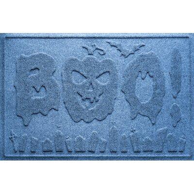 Aqua Shield Boo Graveyard Doormat Color: Medium Blue