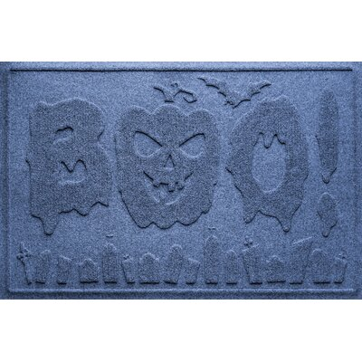 Aqua Shield Boo Graveyard Doormat Color: Navy