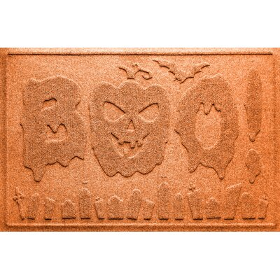 Aqua Shield Boo Graveyard Doormat Color: Orange