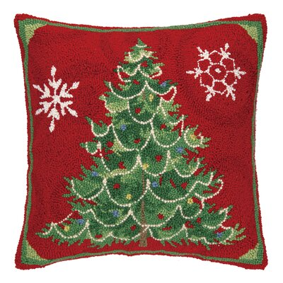 Christmas Snowflakes Hook Wool Throw Pillow