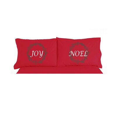 Micro Flannel� Joy Noel Christmas Novelty Print Pillowcase Pair