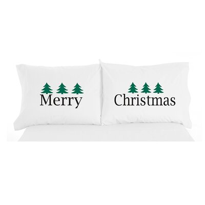 Micro Flannel� Merry Christmas Novelty Print Pillowcase Pair