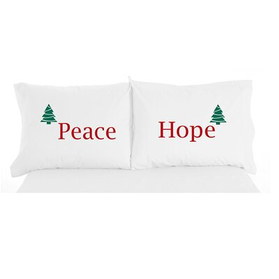 Micro Flannel Peace and Hope Christmas Novelty Print Pillowcase Pair