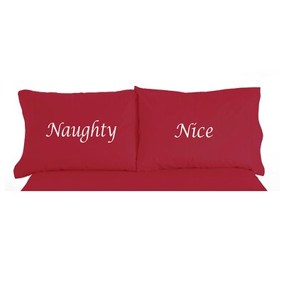 Micro Flannel Naughty Nice Christmas Novelty Print Pillowcase Pair