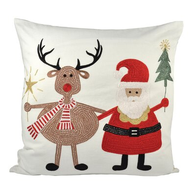 Santa And Friends Cotton Throw Pillow