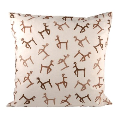 Dancing Reindeer Cotton Throw Pillow