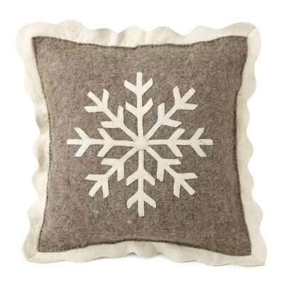 Big Snowflake Hand Felted Wool Pillow Cover