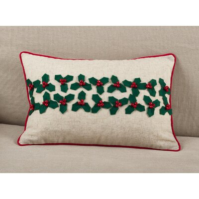 Houx De Noel Holly Leaf with Jingle Bells Christmas Holiday Lumbar Pillow