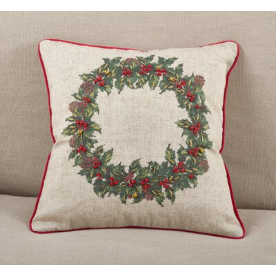 Holly Wreath Jingle Bell Holiday Christmas Throw Pillow