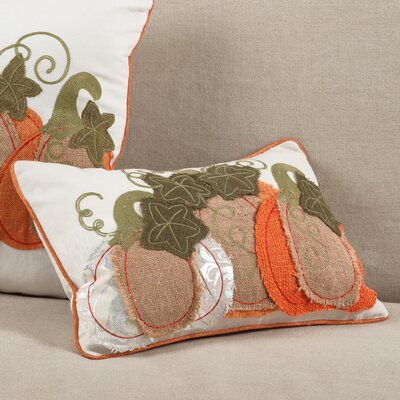 Cucurbita Embroidered Pumpkin Autumn Fall Harvest Lumbar Pillow