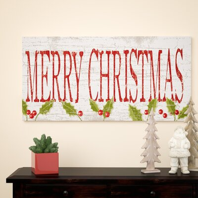 'Merry Christmas' Textual Art on Wrapped Canvas Size: 24