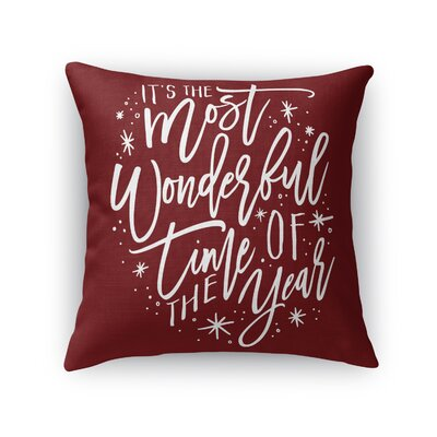 The Most Wonderful Time Outdoor Throw Pillow Color: Red/ White, Size: 18 x 18