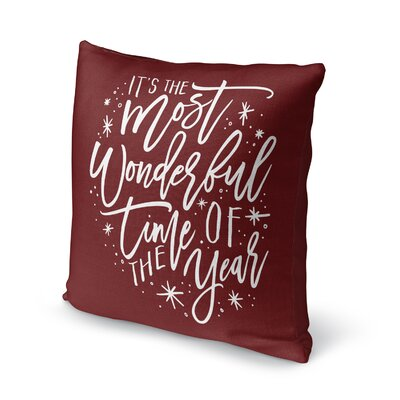 The Most Wonderful Time Outdoor Throw Pillow Color: Red/ White, Size: 16 x 16