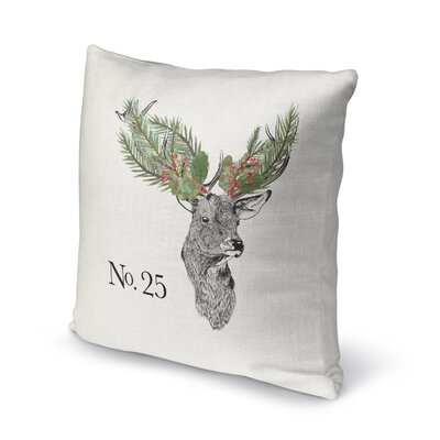 Christmas Deer Outdoor Throw Pillow Size: 16 x 16