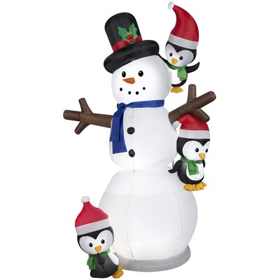 Animated Airblown Swaying Snowman with Penguins Inflatable THLY1658 44156846