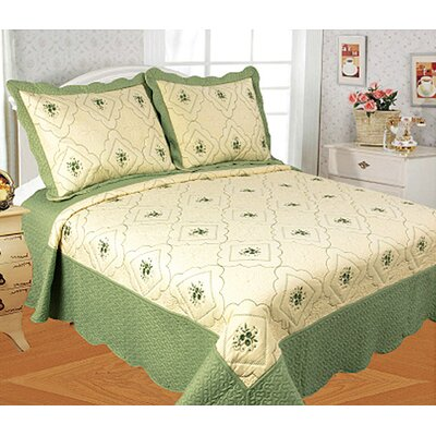 Diana 3 Piece Quilt Set Color: Sage, Size: Queen