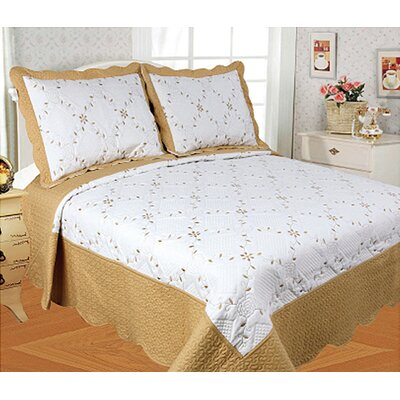 Diana 3 Piece Quilt Set Color: Gold, Size: Queen