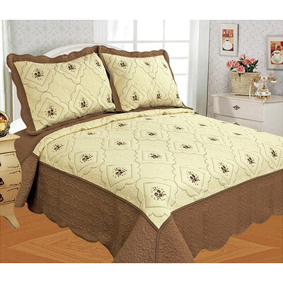 Diana 3 Piece Quilt Set Color: Coffee, Size: King