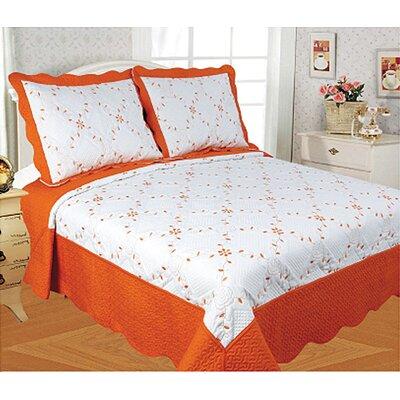 Diana 3 Piece Quilt Set Color: Orange, Size: King