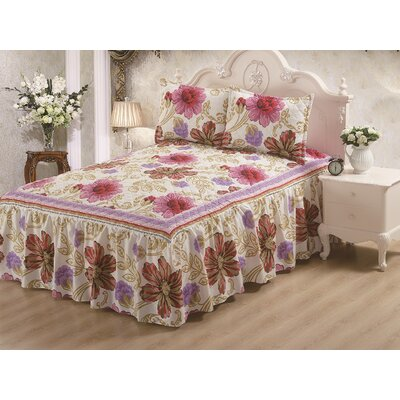 Hailey Panel Bed Skirt Rose Size: King