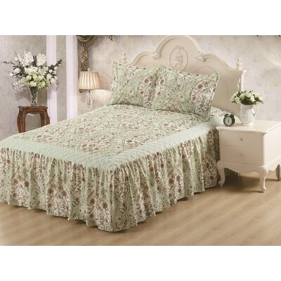 Hailey Panel Bed Skirt Sage Size: Queen